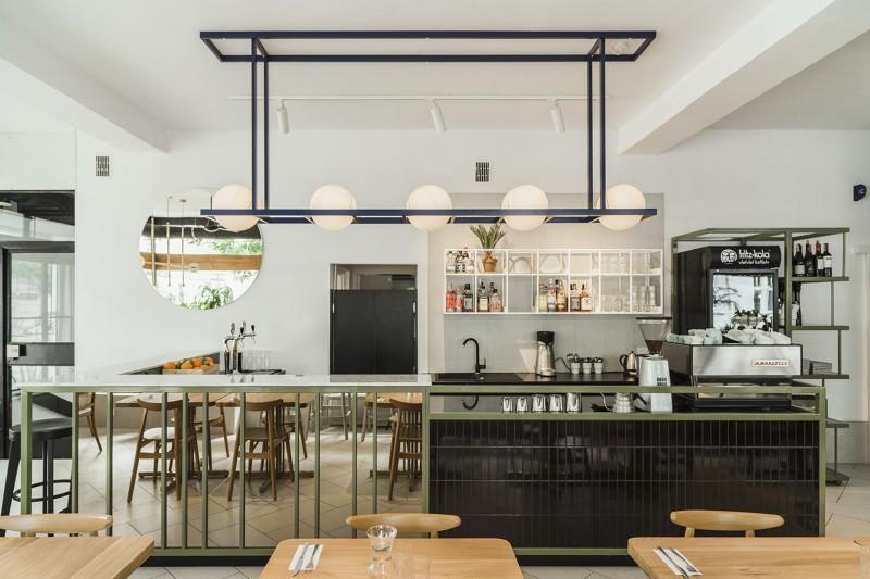 Wnętrze Restauracji Yeżyce Kuchnia Pełne Zieleni Od